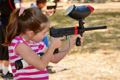 Target practice with a paintball gun